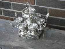 RARE ANTIQUE / GEORGIAN  VICTORIAN SILVERPLATE 6 EGG CUP CRUET SET W/ SAUCE TOP