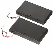 2X New 8 AA 2A Cells Battery 12V Clip Holder Box Case with Switch Black