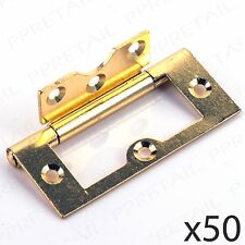 "50 x LARGE BRASS FLUSH HINGES 75mm/3"" Wardrobe Door Kitchen Cabinet/Cupboard"