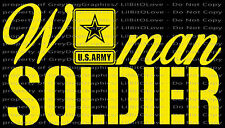 Script Woman Soldier Vinyl Decal United States ARMY Female Girl Sticker Military