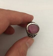 Art Deco Sterling Silver mens Natural Ruby rings