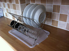 FOLDING STEEL DISH DRAINER DRYING RACK SINK TIDY ORGANISER TRAY SPACE SAVING NEW