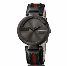 New Gucci Interlocking Leather and Nylon Strap Unisex Watch YA133206