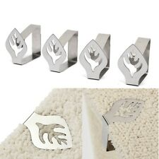 4 Leaf Pattern Stainless Steel Table Desk Cloth Holder Clamp Curtain Cover Clip