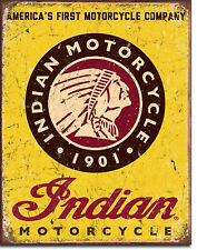 """ Indian Motorcycle"" 1901, Vintage,Tin Sign 12"" X 16"" for the Garage or Man Cave"
