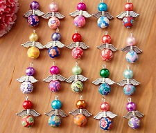 20x Angel Charms Pendants Round Clay Flower Beads Silver Wings COLOURS MAY VARY