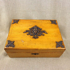 Art Nouveau Wooden Box Chest Copper jugendstil Oak Wood Jewelry Antique Vtg