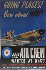 """WW2 Recruiting Poster """"R.A.A.F AIR CREW WANTED AT ONCE"""" A3"""