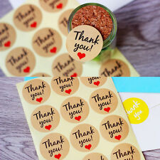 60Pcs Small Red Love Heart Thank you Label Seal Kraft Paper Baking Stickers New