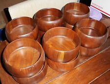"VTG 13""  Solid Heirloom Walnut Ware wood SALAD BOWL SET 15 pc LEBANON MO"