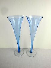 "2 Blue Champagne Trumpet Flutes 10"" high Optic Swirl Hollow Stem Wedding"