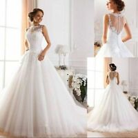 New A-Line Tulle White/Ivory Lace Wedding Dress Bridal Gown Stock Size UK6-20