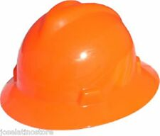 MSA HI VIZ-ORANGE Full Brim V-Gard(SLOTTED) Safety Hard Hat Ratchet SuspNEW!