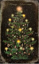 New Merry Christmas VINTAGE CHRISTMAS TREE Candle Lighted Picture Wall Hanging