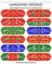15mm Great Siege of Malta Flags x 12 - Sheet 2 - Ottoman Turks