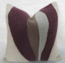 "Lauren Saunders California Hand Loomed Merino Wool Pillow ""Canyon Plum"" 18"""