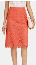 NWT Talbots Orange Rose Lace A-Line Skirt Size 6