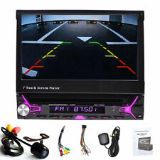 Single 1Din GPS Nav Bluetooth RDS In Dash Car Stereo DVD Player Autoradio+Camera