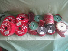 LOT CHRISTMAS Holiday RED/Burgundy RIBBON 200'+ Red Velvet 100'+ Wired gold edge