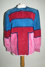 Vintage Mario Valentino red pink blue suede leather colorblock jacket S