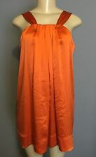 BANANA REPUBLIC 10P 10 M Long Tunic Top Solid Orange Sleeveless Satin Silk
