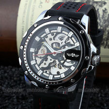 WINNER Skeleton Mens Self-Winding Automatic Mechanical Silicone Band Wrist Watch