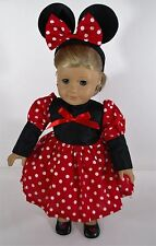 AMERICAN GIRL CLOTHES DOLL MISS MOUSE COSTUME DRESS W/ HEADBAND, SHOES, EARRINGS