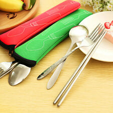 Stainless Steel Portable Fork Spoon Chopstick Cutlery Set With Bag For Travel