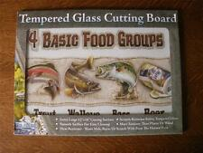 "Tempered Glass Cutting Board 12"" x 16"" FOUR BASIC FOOD GROUPS Fishing Design"