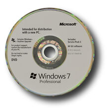 Genuine Microsoft Windows 7 Professional OS SP1 64 BIT DVD & codice prodotto CoA