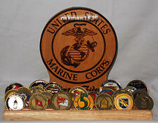 Military Challenge Coin Wood Display Holder 5 rows USMC Semper Fi