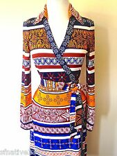 DIANE VON FURSTENBERG NEW JEANNE TWO DESERT BANDS MULTI SILK WRAP DRESS 6 8