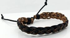 Mens Black Braided Leather Bracelet Adjustable Wax Cord Unisex Wristband 56mm