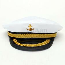 Women Men Captain Cap Skipper Sailor Boat Marine Navy Hat Costume Fancy Dress