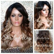 Long Wavy Lace Front Wig Brown Ombre Mixed Blonde Highlights Layers Heat Safe Ok
