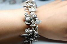 Flower/Plant Theme Bracelet in Sterling Silver with Bells