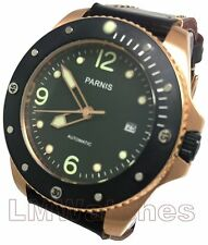 Parnis 43mm PVD Gold Sapphire Glass Japan Miyota 821A 21 Jewel New UK