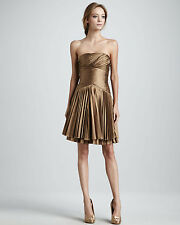 NWT $445 Halston Heritage Bronze Taffeta  Pleat Strapless Dress sz.8/M