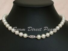 "16"" AAAA+ 7-8mm White Pearl Necklace 14K White Gold Clasp Cultured Freshwater"