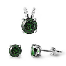 Round Green Emerald .925 Sterling Silver Pendant & Earrings Set