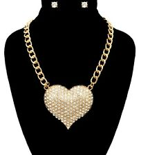 Bling Rhinestone BIG GOLD HEART Statement Necklace & Earrings SET Link Chain