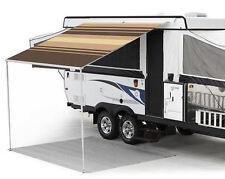 12 ft Campout Bag Awning in Sierra Brown Denim Stripes for Pop Up Camper Trailer