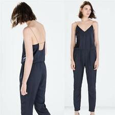 ZARA NAVY BLUE CHAIN STRAP LONG JUMPSUIT SIZE M