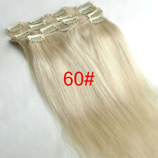"New Clip In Remy Human Hair Extensions Full Head 15""7PCS Straight White Blonde"