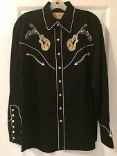 Scully Men's Rock 'N Roll Guitar Embroidered Retro Western Shirt SMALL
