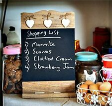 WOODEN CHALKBOARD MEMO BOARD CHIC SHABBY BLACKBOARD SHELF MESSAGES SHOPPING LIST
