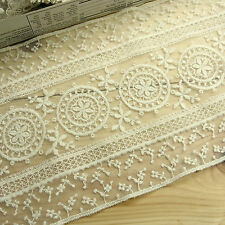 Vintage ST Embroidered Tulle Lace Trim Double Edged Fabric Flower 15cm Wide 1yd