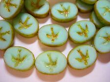 10 16x12mm Mint Green Silk Czech Glass Oval Swallow Bird Beads