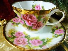 QUEENS ROSINA TEA CUP AND SAUCER PINK ROSES WITH SPONGED GOLD TRIM VINTAGE