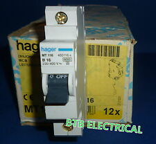 Hager MT116 16 amp single pole B curve MCB Circuit Breaker BNIB